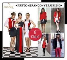 A combinação vermelho, preto e branco é chic!