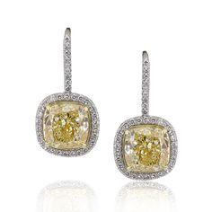 These yellow cushion cut diamond earrings are so glamorous! {Mark Broumand}