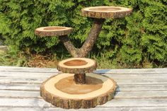 Large Log Elm Wood Rustic Cake Cupcake Stand Wedding party shower