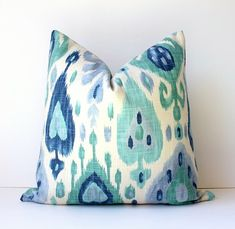 Ikat Decorative Designer Pillow Cover 18 Accent by WhitlockandCo Cushion Cover Designs, Pillow Cover Design, Pillow Covers, Bedroom Color Schemes, Bedroom Colors, Mint Decor, Navy Sofa, Grey Room, Ikat