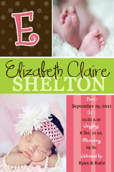 Check out TickledPinkTrinketsBoutique on Facebook for custom made birth announcements and many other great things!!
