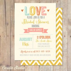 Summer Love Mustard Yellow Chevron Bridal Shower Invitation Baby Shower Invite Printable OR Printed Card on Etsy, $16.00