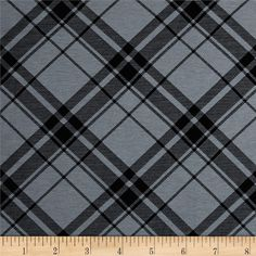 Printed Jersey Knit Black Plaid on Smokey Gray from @fabricdotcom  This versatile polyester jersey knit fabric has almost the feel of cotton, with 40% stretch on the grain for comfort and ease and moderate drape. It is perfect for t-shirts and lined knit skirts and dresses.