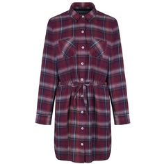 Women's Brakeburn Check Flannel Dress (30 CAD) ❤ liked on Polyvore featuring dresses, flannel dress, flannel shirt dress, purple dress, checkered shirt dress and checked dress