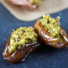 """Fresh Dates Stuffed with Orange-Scented Pistachios""     http://cooking-books.blogspot.com/2010/05/fresh-dates-stuffed-with-orange-scented.html"
