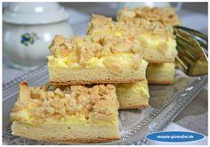 Glutenfreier Apfel-Pudding-Streuselkuchen! Weicher Hefeteigkuchen köstlich belegt! www.rezepte-glutenfrei.de