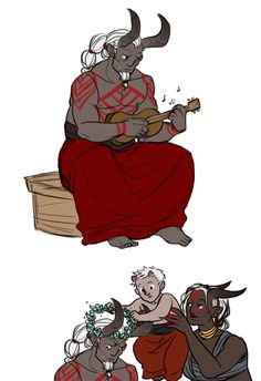 Qunelele by HyperBali on DeviantArt - qunari: playing ridiculously tiny instruments and being really good at it