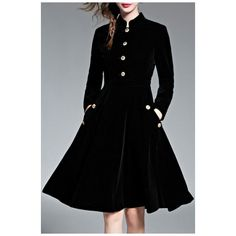 Women's Fashion Winter Long Sleeve Velvet Warm A-Line Midi Dress (3.210 RUB) ❤ liked on Polyvore featuring dresses, long sleeve a line dress, long-sleeve velvet dress, long-sleeve midi dresses, long velvet dress and midi dresses