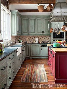 Make A Rustic Kitchen Appear As If It Was Furnished Over Time With A  Rough Texture Tiled Backsplash. I Love The Red Island. Part 56