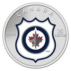2014 Coin and Stamp set featuring the Winnipeg Jets. The reverse design features a coloured team logo in colour captured within the NHL shield on a frosted background. Mint Coins, Silver Coins, Canadian Things, Cash Today, Nhl Logos, Rare Coins, Coin Collecting, Jet, Canada