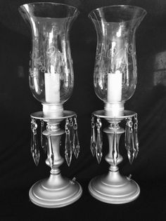Vintage Crystal Candelabra Electric  Lamps Etched Hurricane