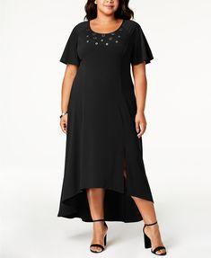 4e314e978cc NY Collection Plus Size   Petite Plus Grommet-Trim Maxi Dress   Reviews -  Dresses - Plus Sizes - Macy s