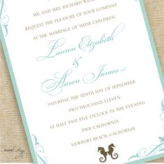 Destination Beach Wedding Invitation Suite with Seahorse Motif, Deposit Listing