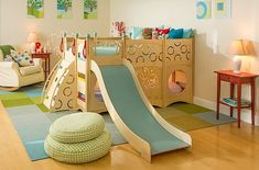 Playbed 837 is from our popular line of indoor playbeds, bunk beds, and loft beds, which features slides, climbers, ramps, firepoles, and more