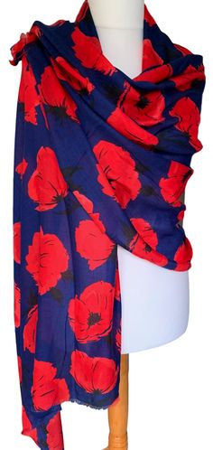 Large dark blue and red Poppy print pashmina wrap / oversized scarf with lightly feathered fringing to the ends.  £12.99 with FREE UK Delivery  Excellent quality fabric it drapes and falls beautifully, large enough to be worn in a number of different styles, the perfect fashion accessory.  Measurements : approx. 68 inch / 170 cm in length and 35 inch / 88 cm in width Pashmina Wrap, Blue Poppy, Oversized Scarf, Red Poppies, Free Uk, Different Styles, Plaid Scarf, Soft Fabrics, Shawl