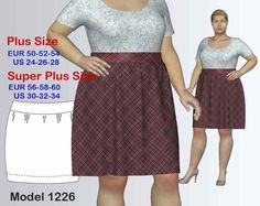 Plus size Skirt Sewing Pattern PDF, Women's Plus sizes 24-34