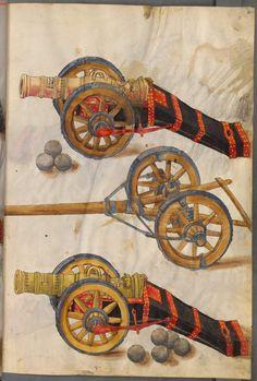 Title: Zeugbuch Kaiser Maximilians I, Belagerungsgeschütze in Block-, Burgunder- und Wandlafetten mit Protze und Werkzeug, Date: 1502