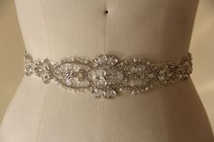 Wedding Belt, Bridal Belt, Bridal Sash, made of Crystals and Beads, Bridal Accessary  featured Beading Applique.
