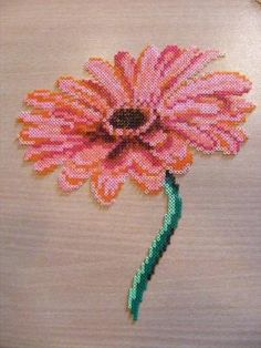 flower hama perler beads by ki-vi, by paige Perler Bead Designs, Melty Bead Designs, Hama Beads Design, Pearler Bead Patterns, Diy Perler Beads, Perler Bead Art, Perler Patterns, Pearler Beads, Fuse Beads