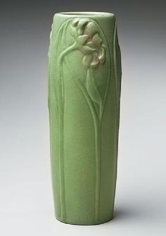 Artus Van Briggle for the Van Briggle Pottery, Colorado Springs, Col. Vase with apple green glaze and floral relief, 1903.
