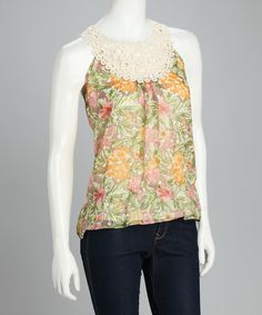 Olive Crocheted Floral Top