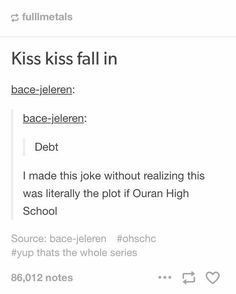 Kiss kiss fall in debt, funny, text, song, lyrics; Ouran High School Host Club