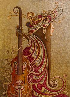 Keman ve drkoratif kadın tablo dkr - 10382