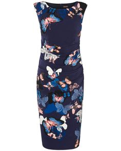 A sleeveless navy jersey dress with a butterfly print from Phase Eight, perfect for freshening up your Spring wardrobe.