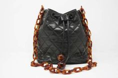 c18c16640a5b12 Rare Vintage CHANEL Black Bag with Tortoise Chain at Rice and Beans Vintage