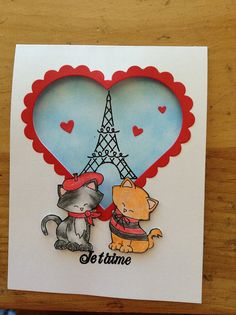 Card by Shaune Roberts | Two kitties in Paris | Newton dreams of Paris Stamps by Newton's Nook Designs!