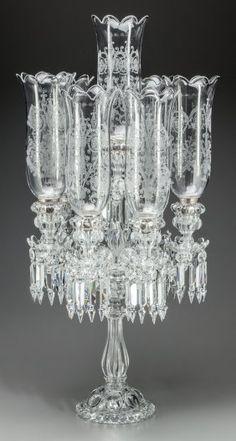 A Baccarat Etched Glass Seven-Light Candelabrum,