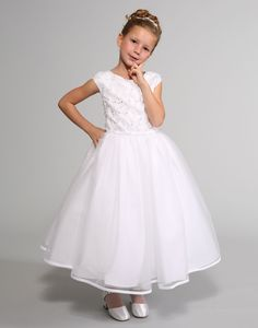 Sweetie Pie Collection Style 3038 - WHITE Cap Sleeve Organza Dress with Lattice Rhinestone Pattern White Flower Girl Dresses, Wedding Flower Girl Dresses, White Dress, Wedding Dressses, Baptism Dress, Organza Dress, White Caps, Communion Dresses, Baby Shower