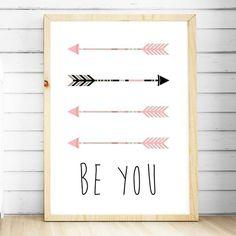 Nursery Wall Art Prints. Girls Pink Tribal Arrow Print. Girls bedroom decor. Be You Nursery Print. Tribal nursery. Tribal Arrows Nursery Wall Art Print. Kids decor. Shop online Australia.