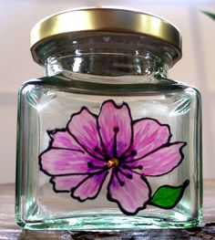 Designer Hand Painted Glass Pink Cosmos Jar by HandPaintedJar on Etsy