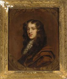 Portrait of a gentleman, bust-length, in a brown wrap and lace jabot, feigned oval cartouche