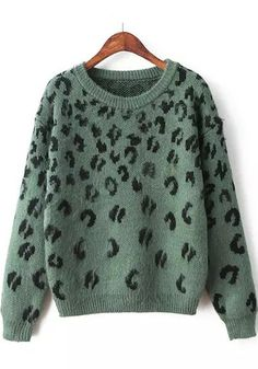 Love Leopard! Khaki Green + Black Leopard Print Pullover #Khaki #Green #Black #Leopard #Animal #Print #Pullover #Winter #Fashion