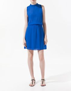 DRESS WITH MAO COLLAR - Dresses - Woman - ZARA United States. good for work, also comes in neon yellow..but might be passe next year