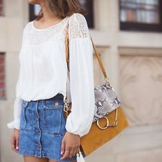 Button Down Denim Skirt and Gladiator Sandals