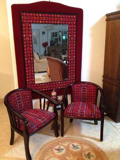 Palestinian embroidery  تطريز فلاحي مراية وكراسي
