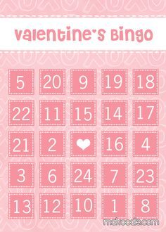 number ID valentine's day BINGO  http://www.makoodle.com/valententines-bingo/