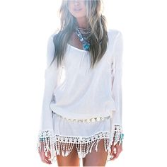 New 2015 Summer Style Women Vestidos Long Sleeve Fashion Bohemian Tassel Sexy Chiffion Lace Tunic Hollow Out White Beach Dresses