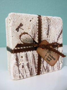 Rustic Nature Inspired Grass & Dragonfly Tile Coasters Set of