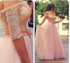 Hot Sale Pink Prom Dresses A-Line Cheap Off-Shoulder Half Sleeve Evening Gowns Pearls Lace Applique Floor Length Tulle with Sash Formal Gown, $95.1   DHgate.com