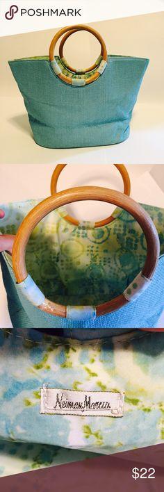 Neiman Marcus Straw Satchel Light blue straw, wooden handles, light green lining great condition Neiman Marcus Bags Satchels