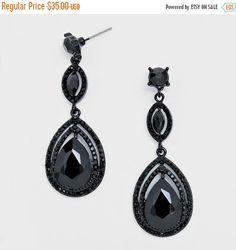 Tear drop black rhinestone earrings,dangle earrings, rhinestone wedding jewelry, wedding earrings,silver clear drop earrings, blue brides