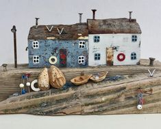 Driftwood Waterproof Decoration Door Decals A Raft of Driftwood on The Shoreline with Seagulls Wavy Sea and The Sky Digital Image Perfect Ornament Blue x INCH - Driftwood 4 Us Clay Houses, Miniature Houses, Bird Houses, Wooden Houses, Driftwood Beach, Driftwood Crafts, Wooden Art, Wooden Crafts, Kirsty Elson