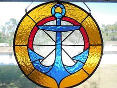 Handmade Nautical Amber Blue Anchor Circle Stained Glass Suncatcher in Home & Garden, Home Décor, Suncatchers & Mobiles | eBay