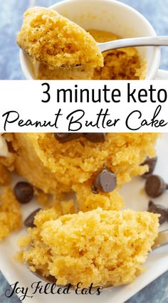 In the mood for something amazing? Try out this Keto Peanut Butter Mug Cake recipe. It can be made in just a couple of minutes, and it's perfect for curing that sweet tooth. Soft, delicious cake with an incredible texture and peanut butter flavor is just moments away! It's truly as easy as you can get, but the result is heavenly! You don't have to worry about it because it's also gluten-free, grain-free, sugar-free, THM S, and low carb too. Ketogenic Desserts, Keto Friendly Desserts, Low Carb Desserts, Dessert Recipes, Diabetic Snacks, Keto Snacks, Peanut Butter Mug Cakes, Low Carb Peanut Butter, No Carb Recipes