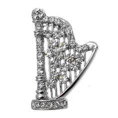 Acosta Brooches - Clear Swarovski Crystal Harp - Musical Instrument Brooch Acosta Jewellery. $29.99