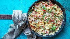 Kremet pasta med reker Norwegian Food, Frisk, Paella, Quiche, Food And Drink, Yummy Food, Yummy Recipes, Breakfast, Ethnic Recipes